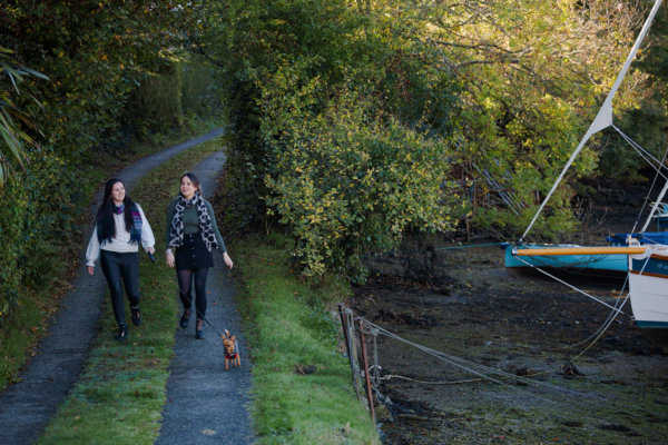 Laura and Roxane of Whyfield walking a dog