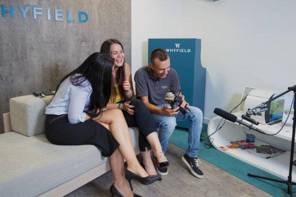 Whyfield filming for their YouTube channel